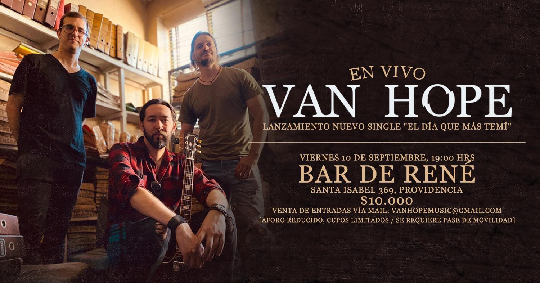 Van Hope retorna a Bar de René con lanzamiento de nuevo single «El Día Que Más Temí»